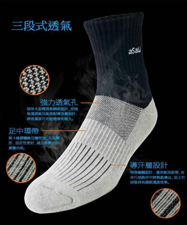 B009  asali  炭纖維消臭環護足弓機能運動襪[終極版] 3